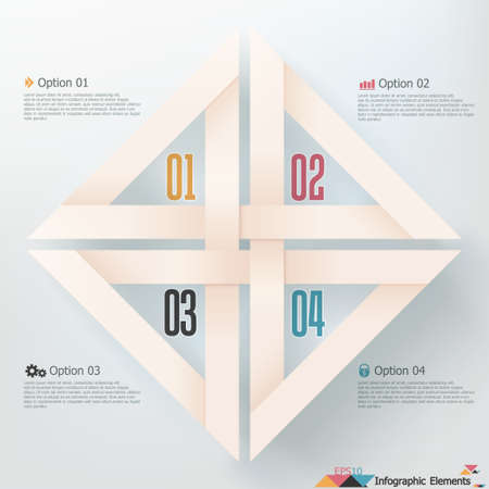 Modern infographics options banner with realistic ribbon. Vector. Can be used for web design and  workflow layout Vector