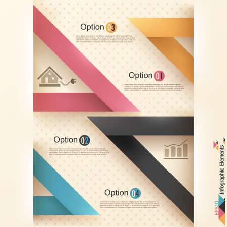 Modern infographics options banner with rectangle ribbons. Vector. Can be used for web design and  workflow layout Vector