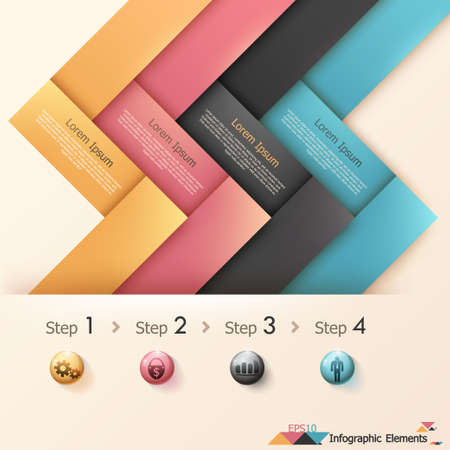 Modern infographics options banner with woven paper sheets. Vector. Can be used for web design and  workflow layout