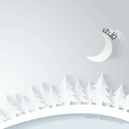 Modern background with paper spruce and moon on white background. Vector. Can be used for web design and  workflow layout Vector
