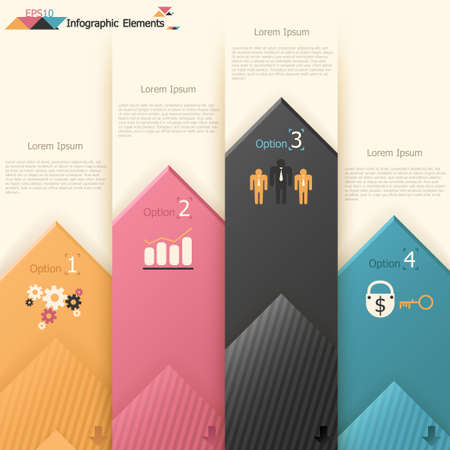 option key: Modern infographics options banner with paper arrows. Vector. Can be used for web design and  workflow layout