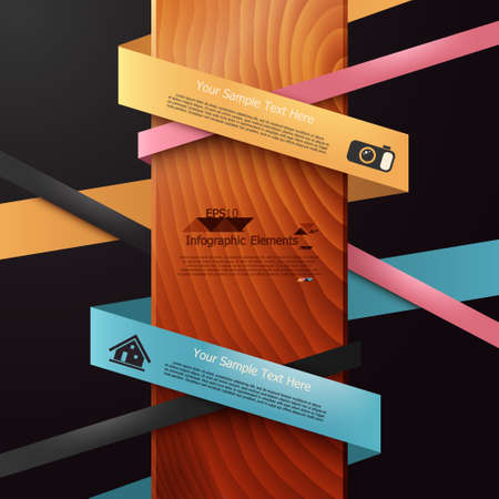 Modern infographics options banner with woven paper sheets on wood background. Vector. Can be used for web design and  workflow layout