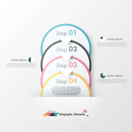 Modern infographics options banner with paper circles. Vector. Can be used for web design and  workflow layout Illustration