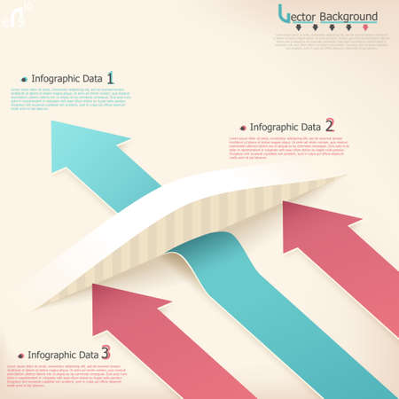 Modern infographics options banner with realistic arrows. Vector. Can be used for web design and  workflow layout