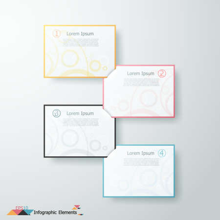 Modern infographics options banner with paper squares. Vector. Can be used for web design and  workflow layout Ilustracja