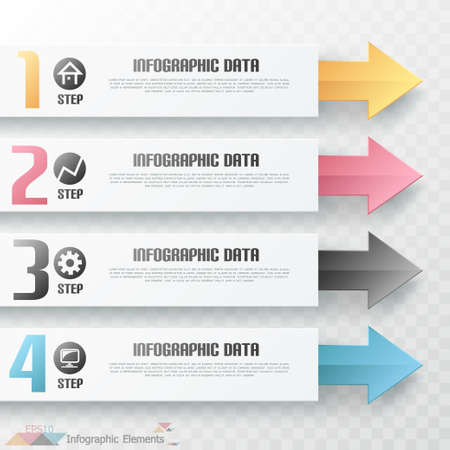 Modern infographics options banner with arrows. Vector. Can be used for web design and  workflow layout