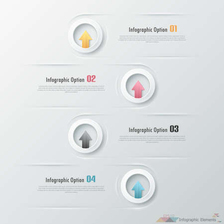 Modern infographics options banner with paper circles with arrows. Vector. Can be used for web design and  workflow layout 向量圖像