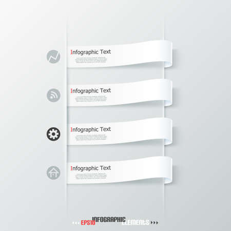 Modern infographics options banner with paper ribbons. Vector. Can be used for web design and  workflow layout Vector