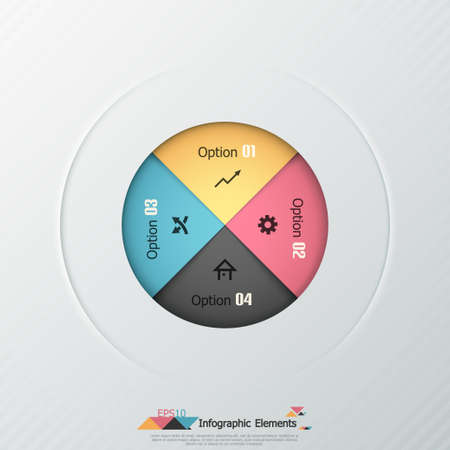 Modern infographics options banner with color paper sheets in circle. Vector. Can be used for web design and  workflow layout