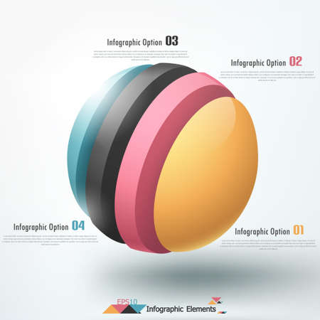 Modern infographics options banner with cropped sphere. Vector. Can be used for web design and  workflow layout Vector