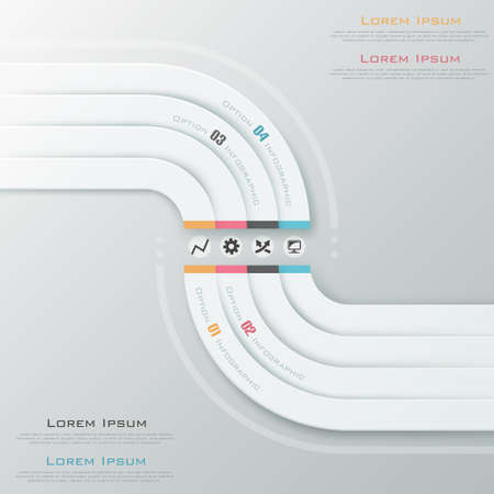 Modern infographics options banner with white ribbons. Vector. Can be used for web design and  workflow layout Ilustração