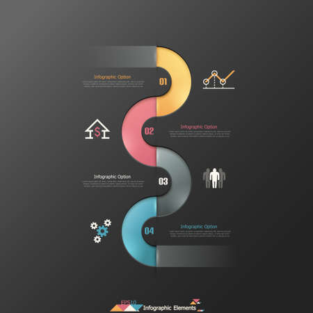 Modern infographics options banner with realistic colorful ribbon. Vector. Can be used for web design and  workflow layout Ilustração