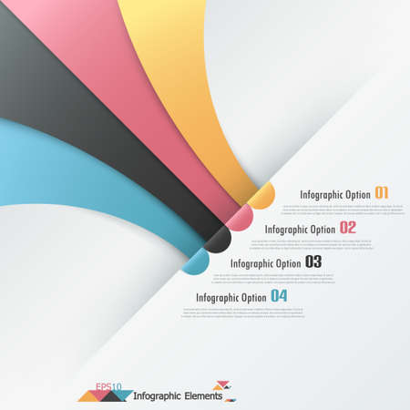 Modern infographics options banner with colorful paper ribbons. Vector. Can be used for web design and  workflow layout Vector
