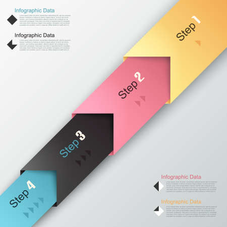 Modern infographics options banner with paper arrows. Vector. Can be used for web design and  workflow layout Vector