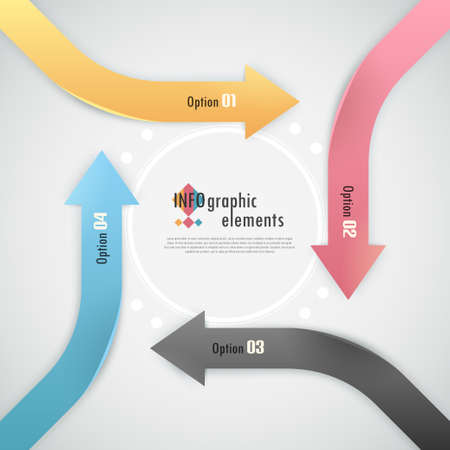 Modern infographics options banner with paper arrows on grey background. Vector. Can be used for web design and  workflow layout