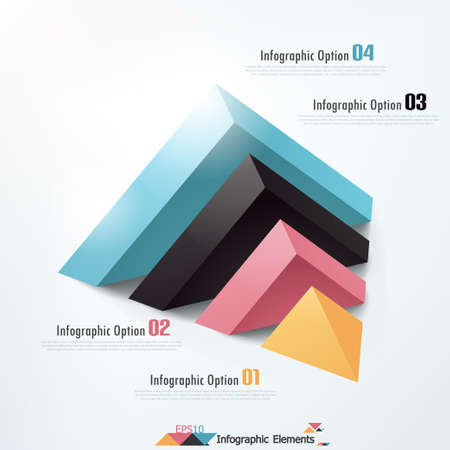 Modern infographics options banner with cropped pyramid. Vector. Can be used for web design and  workflow layout Vector