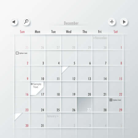 Paper Calendar Design. Vector. Can be used for web design and  workflow layout