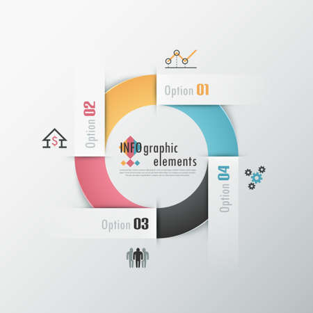 Modern infographics options banner with round colorful ribbon. Vector. Can be used for web design and  workflow layout Illustration