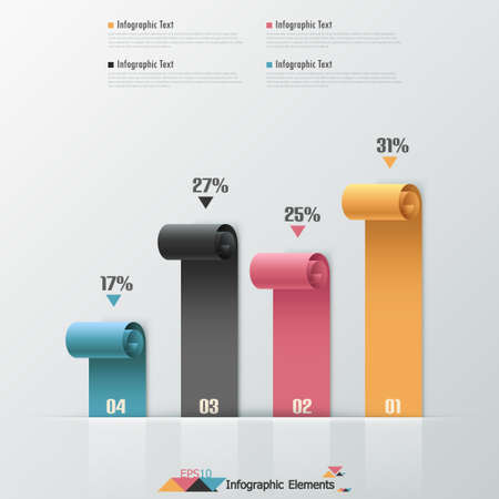 Modern infographics options banner with colorful paper ribbons. Vector. Can be used for web design and  workflow layout Illustration