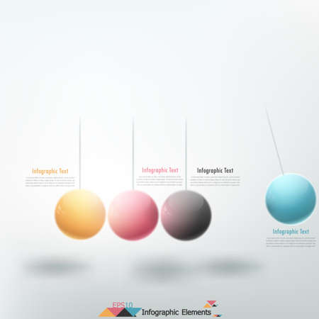 Modern infographics options banner with pendulum (color spheres). Vector. Can be used for web design and  workflow layout
