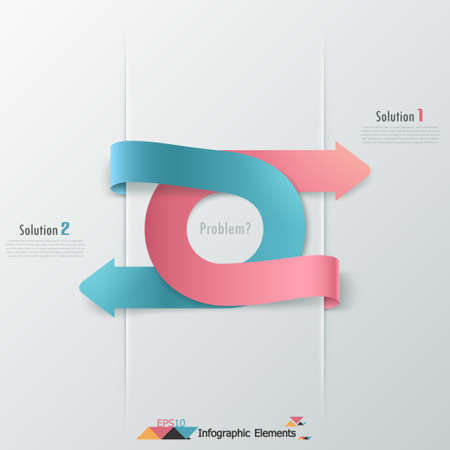 Modern infographics options banner with red and blue paper arrows. Vector. Can be used for web design and  workflow layout