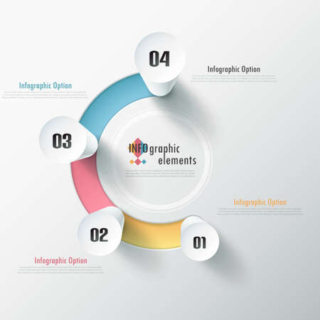Modern infographic options banner with white cylinders on color path. Vector. Can be used for web design and  workflow layout