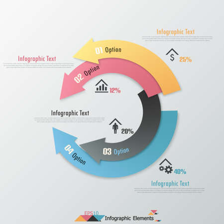 Modern infographics options banner with paper arrows. Can be used for web design and  workflow layout Ilustracja