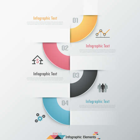 Modern infographics options banner with round colorful ribbon. Vector. Can be used for web design and  workflow layout Vector