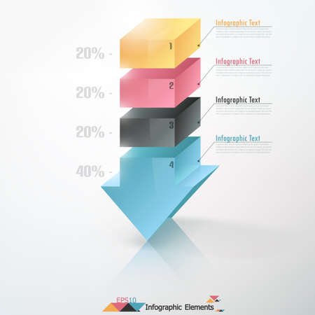 Modern infographics options banner with 3d arrow splitted into colorful segments. Vector. Can be used for web design and  workflow layout Vector