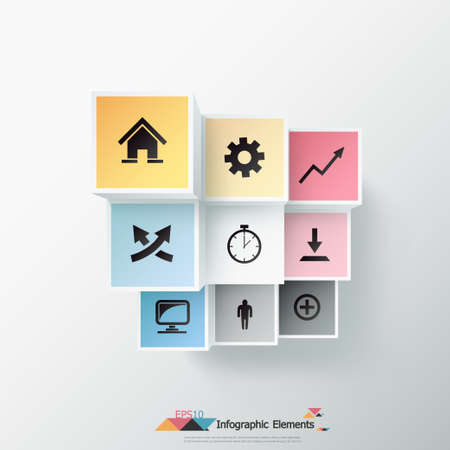 Modern infographics options banner with realistic colorful parallelepipeds. Vector. Can be used for web design and  workflow layout