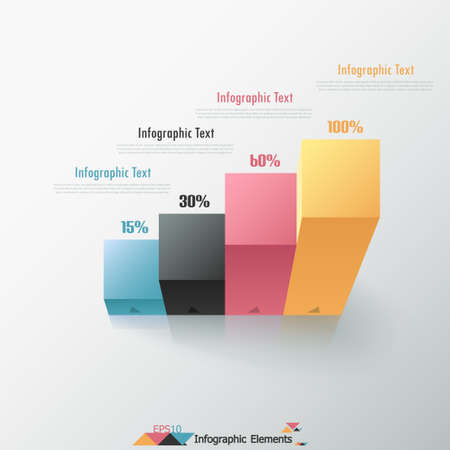 Modern infographics options banner with chart made of realistic colorful parallelepipeds. Vector. Can be used for web design and  workflow layout