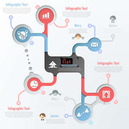 Flat infographic design with icons. Vector. Can be used for web design, workflow layout, social media, entertainment and games. Vector