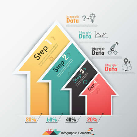 Modern infographics options banner with colorful paper arrows. Vector. Can be used for web design and  workflow layout 向量圖像