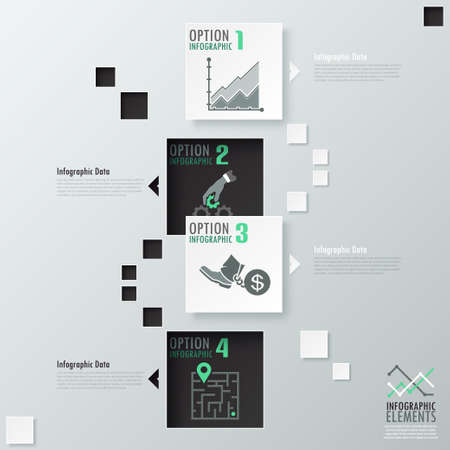 Modern infographics options banner with black and white paper squares. Vector. Can be used for web design and  workflow layout