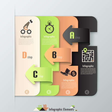 Modern infographics options banner with paper sheets cropped into arrows. Vector. Can be used for web design and workflow layout Ilustracja