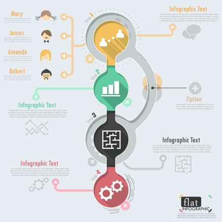 info graphic: Flat infographic design with icons. Vector.  Illustration