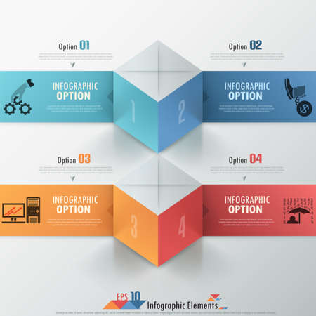 Modern infographics options banner with realistic colorful parallelepipeds (box) and ribbons. Vector