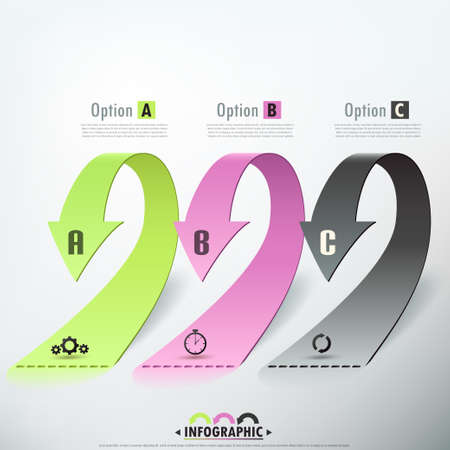 arrows vector: Modern infographics options banner with realistic arrows. Vector.