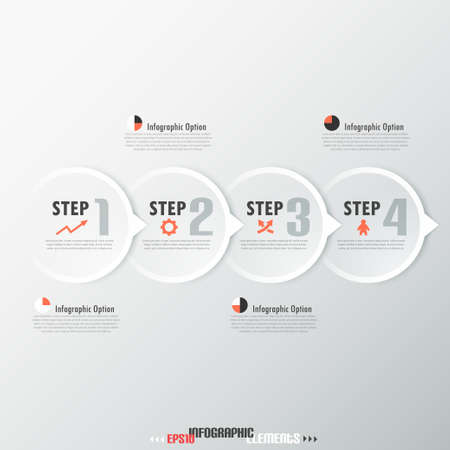 Modern infographics options banner with paper circles. Vector. Can be used for web design and  workflow layout Vettoriali