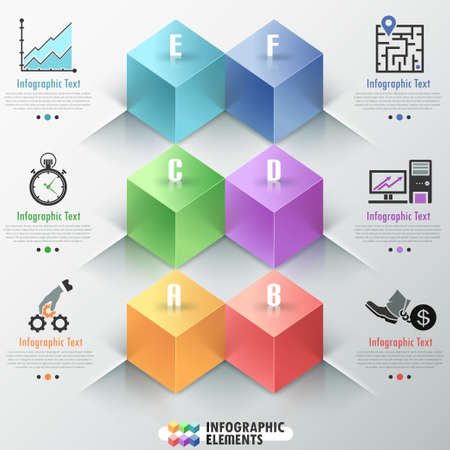 Modern infographics options banner with realistic colorful parallelepipeds (box). Vector. Can be used for web design and  workflow layout Vector