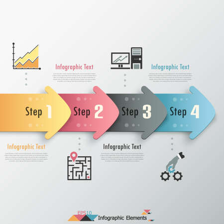 Modern infographics options banner with colorful paper arrows. Vector. Can be used for web design and  workflow layout Vettoriali