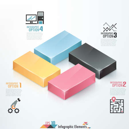 Modern infographics options banner with 3d colorful blocks. Vector. Can be used for web design and  workflow layout Vector