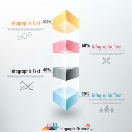 Modern infographics options banner with colorful and glass blocks. Vector. Can be used for web design, timeline and workflow layout Vector