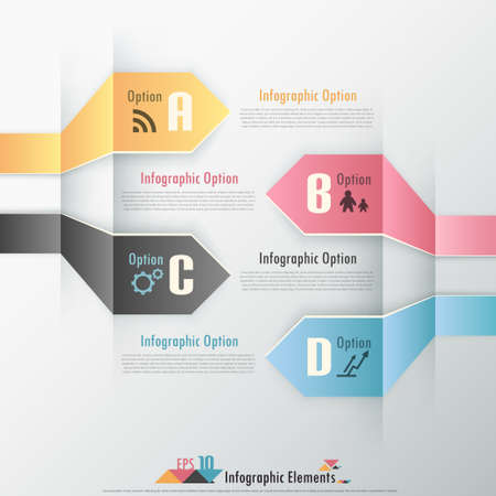 Modern infographic options banner with colorful paper ribbons. Vector. Can be used for web design and workflow layout Vector