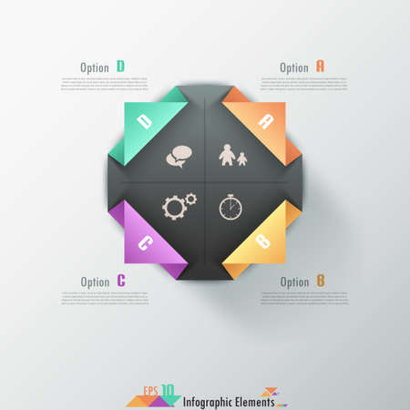 rectangle button: Modern infographic options banner with color paper bent square. Vector. Can be used for web design and  workflow layout