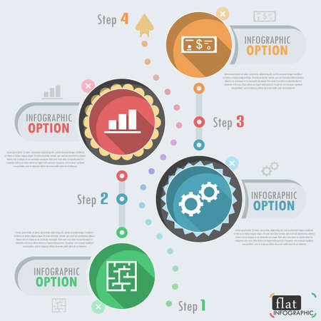 Flat infographic design with icons. Can be used for web design, workflow layout, social media, entertainment and games.