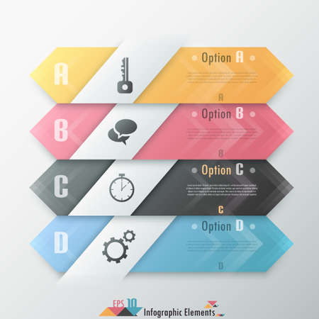 Modern infographics options banner with realistic colorful paper ribbon. Can be used for web design and  workflow layoutern Infographic Options Banner Vettoriali