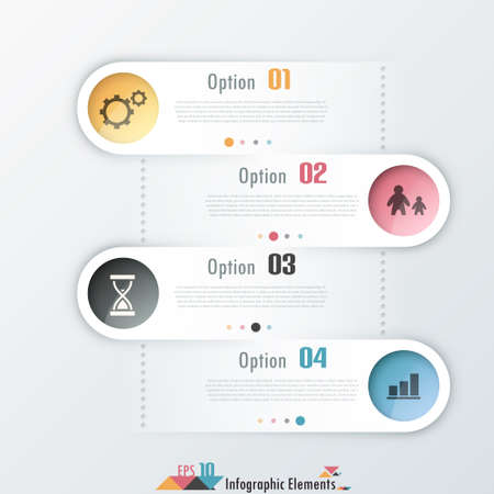 Modern infographics options template with rounded white ribbons and icons. Can be used for web design and  workflow layout Vector