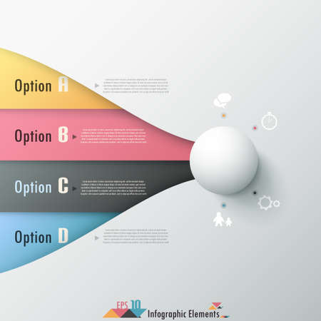 Modern infographics options banner with white sphere cropping into colorful ribbons. Can be used for web design and  workflow layout.