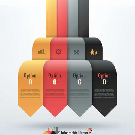 Modern infographics options banner with realistic colorful ribbon. Can be used for web design and  workflow layout Vector